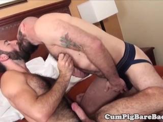 Hairy wolf barebacked in threeway