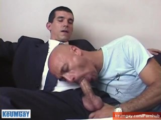 In spite of him: gyome's cock (a str8 banker) gets serviced.