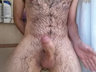 Guy moaning and cumming hard during shower