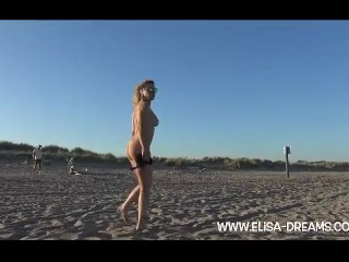 Flashing and dirty on the beach with a voyeur