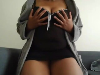 Who's coming to play with this ebony BBW? Playing with big tits