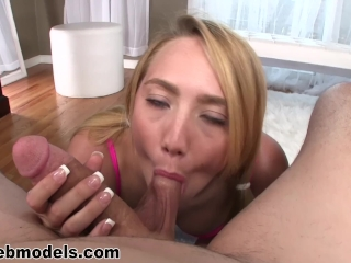 Blonde AJ APPLEGATE Huge Cock POV Blowjob and CUM SWALLOW! Wow! A++