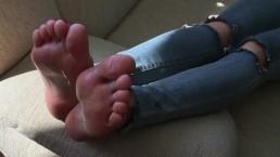 Foot Fetish Obsession. Cum On Ksenia's Feet. Passive Footjob