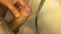 Quick masturbation under water stream