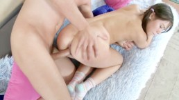 Pigtailed Brunette Teen Likes It Rough