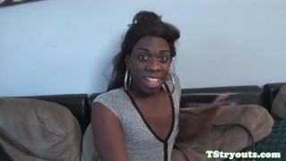 Ebony trans goddess pulling cock at audition