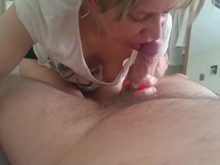 Fast morning blowjob cumshot in mouth