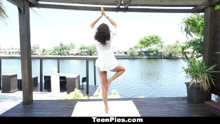 Preview 1 of TeenPies - Hot and Sexy Ebony Gets Creampie After Yoga