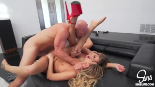Beautiful Twins w/ Great Tits, Fucking Huge Dick Hockey Player French in