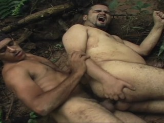 Gorillas in sex action - fat old men fuck in the amazonas