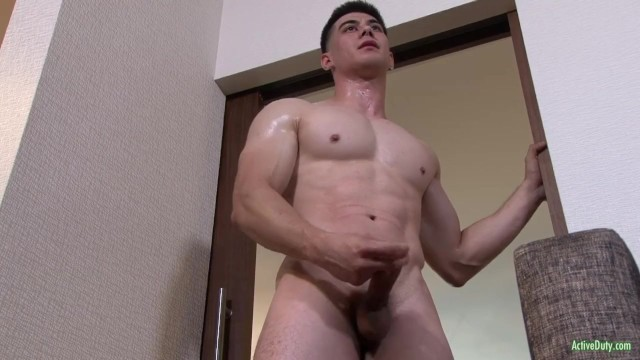 Nude gay male beefcake - Activeduty fit army beefcake jerks his cock