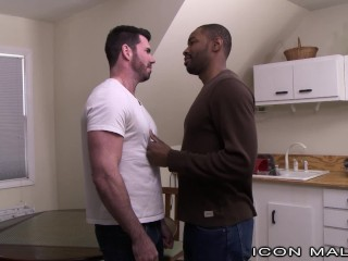 Str8 Ebony Hunk Cheats with Billy Santoro's Cock in Ass