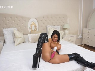 Anisyia LiveJasmin Huge toy pussy destruction extreme high heels