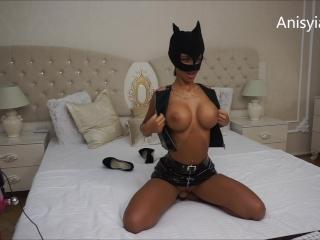 Anisyia Livejasmin latex catwoman cosplay big tits rider
