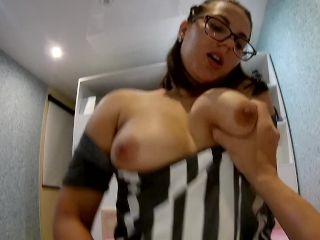 Amateur nerdy with big boobs gets fucked