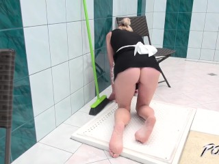 Busty cleaning lady is lazy and get fucked pussy hard as punishment