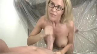 Busty milf gets a cum-splatter