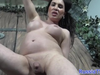 Russian trap toying tight butt while jerking