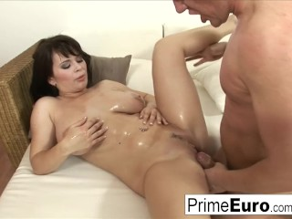 Preview 6 of Busty brunette Kristi Klenot gets fucked on the couch