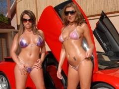 2 hot girls w/ Big Tits Bikini Car wash and Fucked by Big Dick Outside!