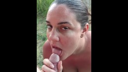 Milf Goddess sucking cock gets tits jizzed on by the lake - ALMOST CAUGHT!
