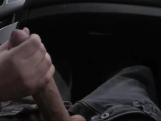 Car Handjob and Big Cumshot