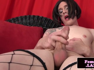 Stockinged amateur trans tugging her cock
