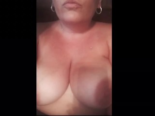 Real milf takes big facial and rubs it in tits