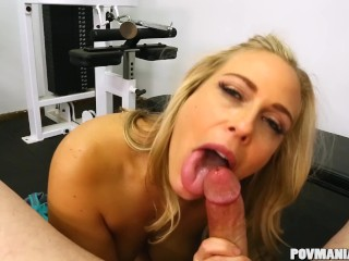 Busty Angel Allwood giving a good blowjob at PovManiaxxx