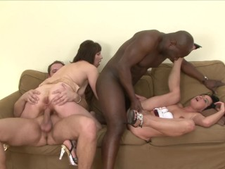 Mature cougars in interracial anal orgy
