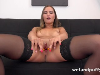 Wetandpuffy - Naomi Bennet teases her wet juicy pussy with a big dildo