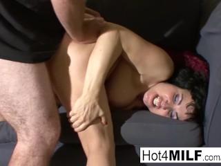 Busty MILF Claudine fucks her man on camera