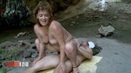Hot and horny granny woman fucking and squirting hard in a cave