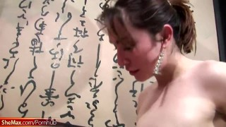 T-girls get shecock jizz squirted on boobs in foursome orgy