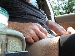 Action Cam Car Jerk - Public Solo Quickie!