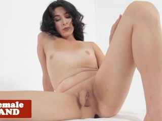 Naughty shemale spreads and fingers ass solo