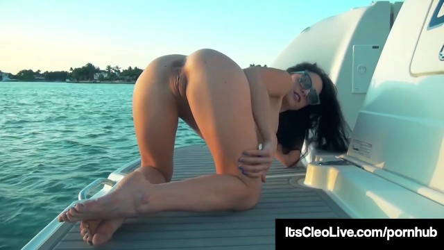 Naked white girl with freckles Freckled face cutie its cleo pumps her wet pussy on a boat