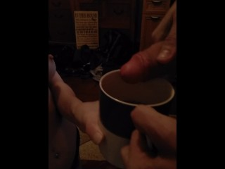 Submissive takes Sir's Gift added to her morning coffee
