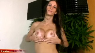 FULL video of Slender TS beauty stroking breasts and shecock