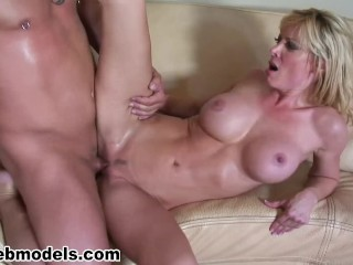 Big Tits Blonde HOLLY SAMPSON Fucked for Cum Swallow Reward! MUST SEE! A++