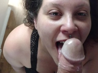 On My Knees, Swallowing His Huge Cock in the Kitchen Like a Good Wife