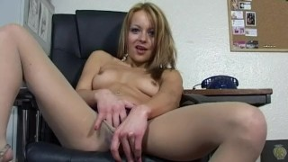 Tiny British Slut Zoe Dee wanking hard in the office!