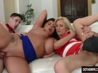 Brunette swinger Candi Coxx fucks in front of husband