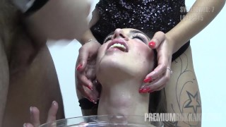 Preview 2 of Premium Bukkake - Nicole swallows 59 huge mouthful cumshots