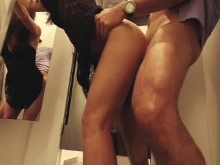 Claudia takes it from behind in public changing room