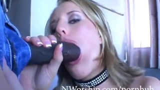 Blonde slut milf with big boobs loves anal fuck with big black cock