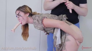 Gets voodoo stabbed girl and cock with dildos doll gagging doll