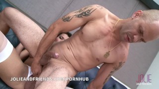 Lucky guy fucks and get fucked by beautiful big cock shemale