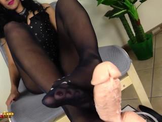 Footjob in ebony pantyhose by Mistress Alexya