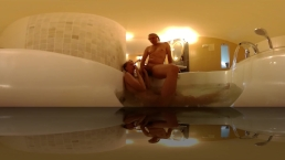Step Sister get caught masturbating in Jacuzzi got Blowjob to do VR 360